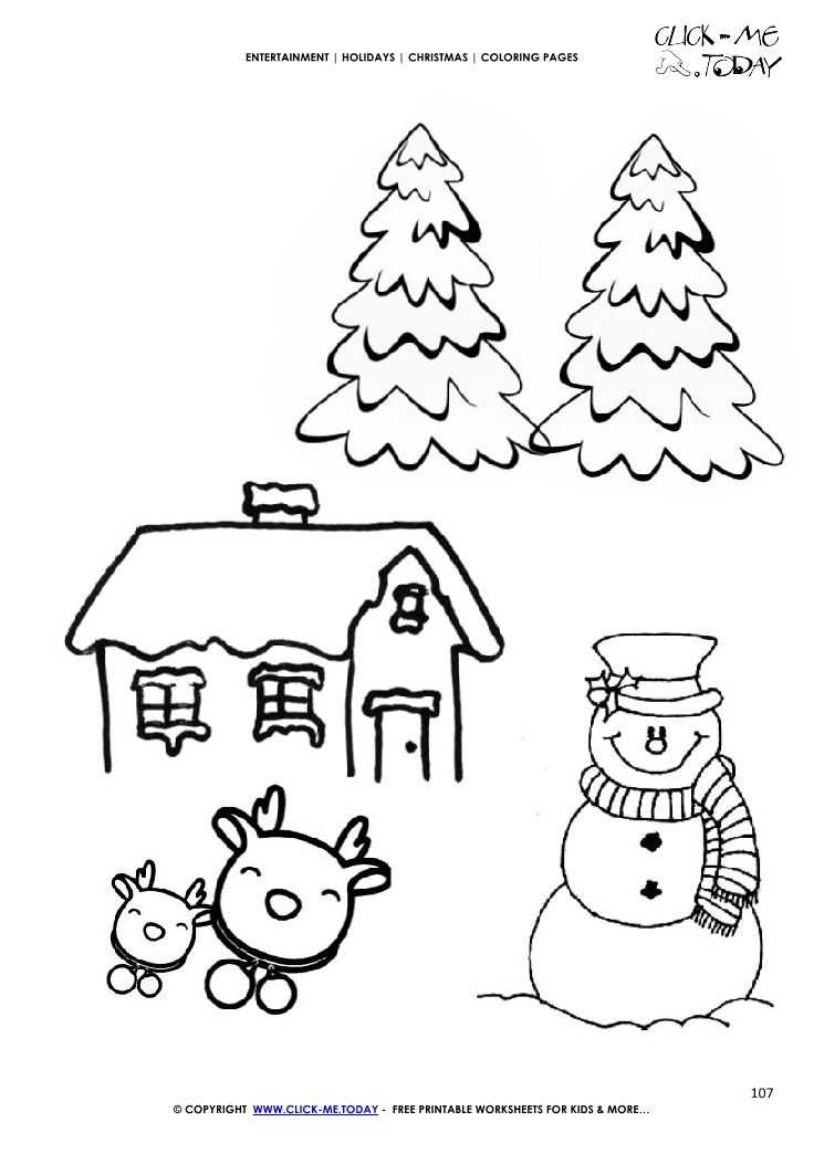 christmas landscape with firs coloring page