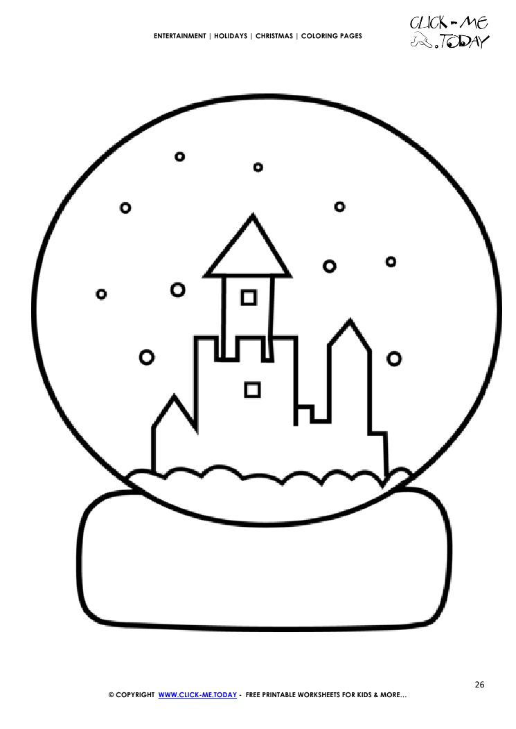 christmas snowball glass coloring page