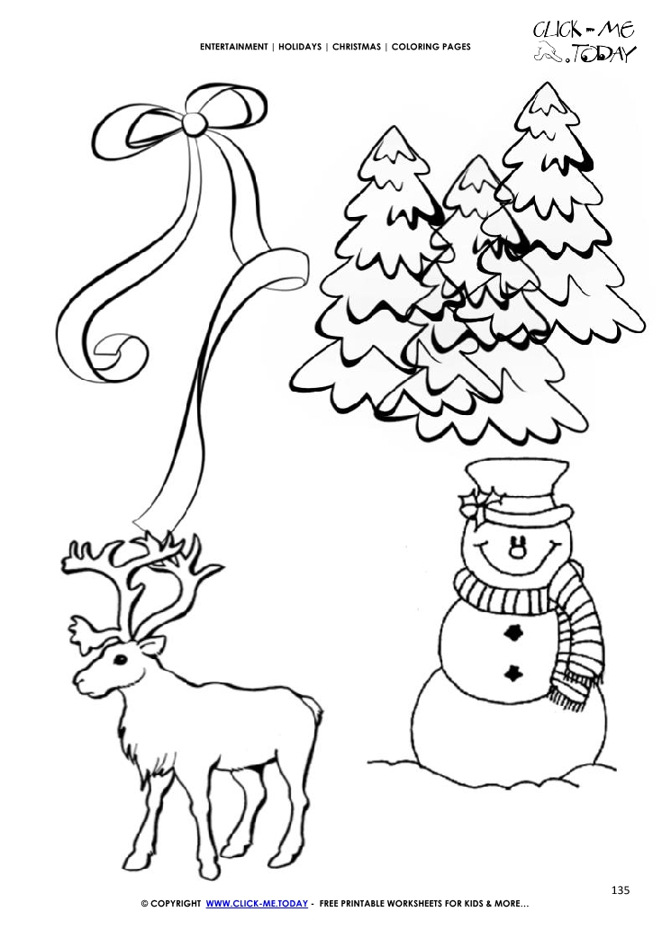 christmas landscape with snowman coloring page