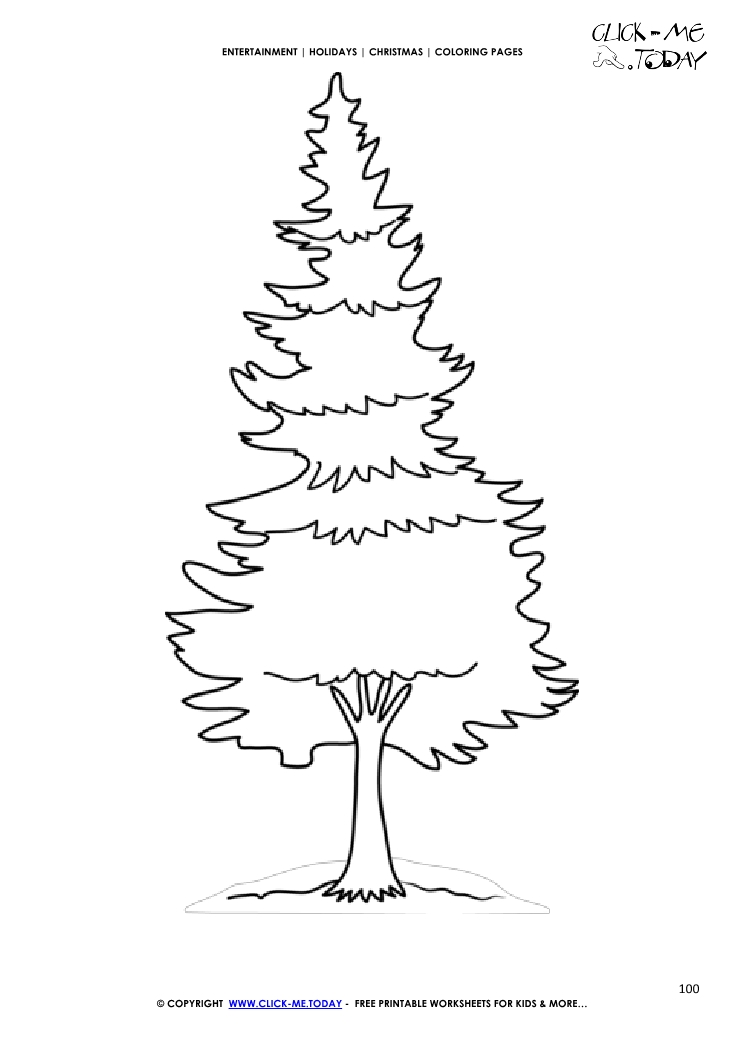Cute Fir Christmas Coloring Page