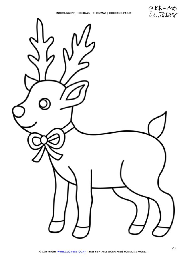 Free Cute Reindeer Coloring Page Christmas Reindeer 23