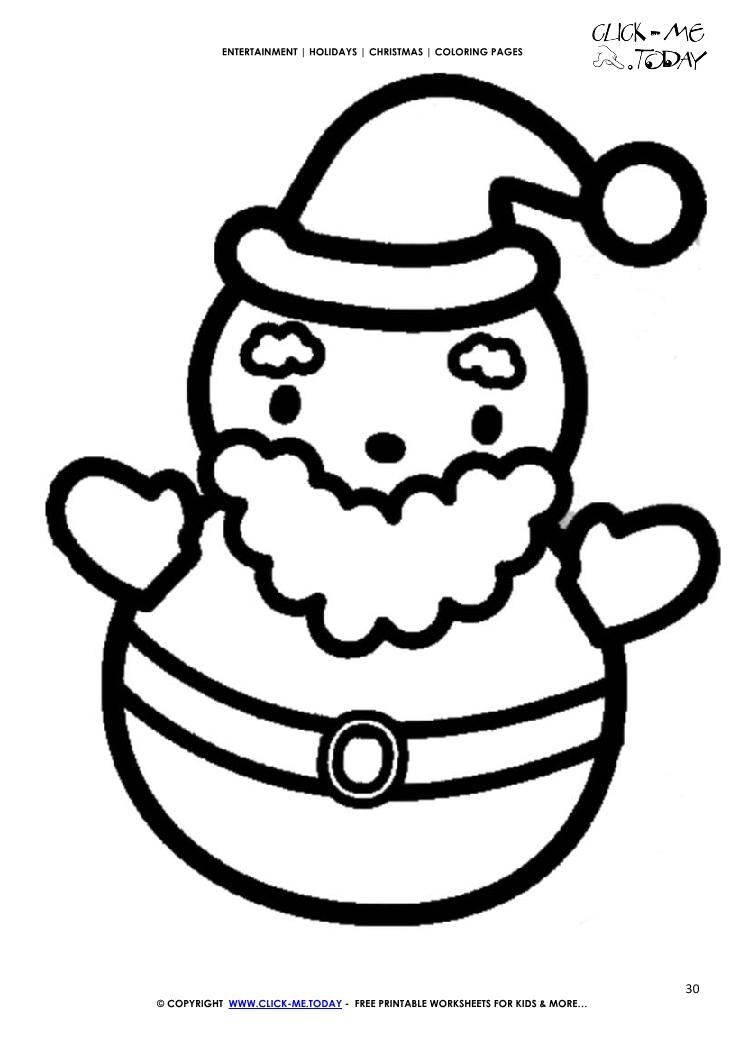 cute santa coloring page - Santa Coloring