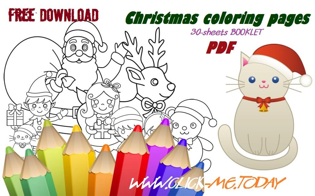 Download 30 Christmas coloring pages PDF