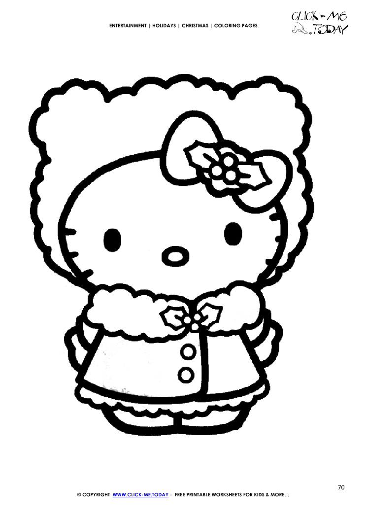 hello kitty with hat coloring page