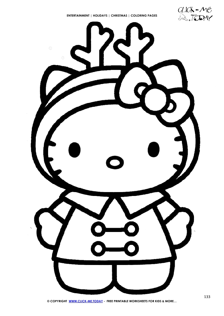 hello kitty reindeer hat christmas coloring page