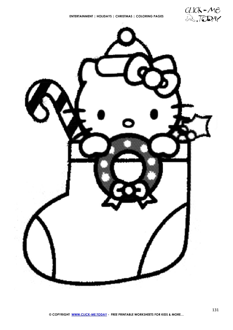 hello kitty xmas stocking coloring page