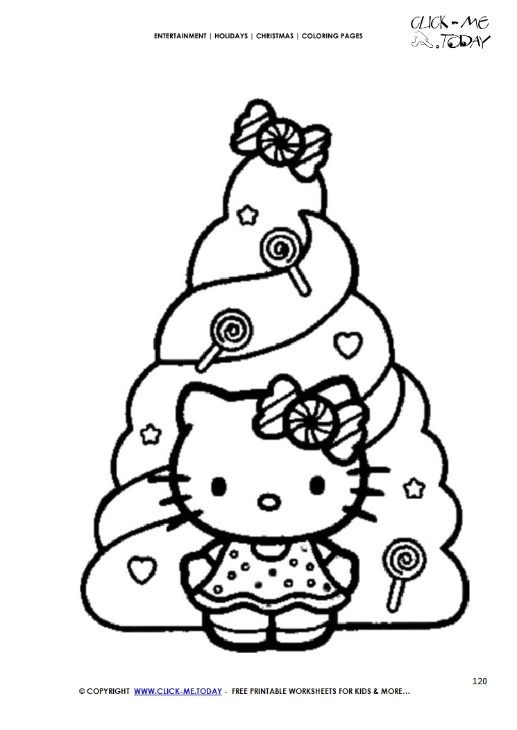 Hello Kitty With Xmas Tree Coloring Page