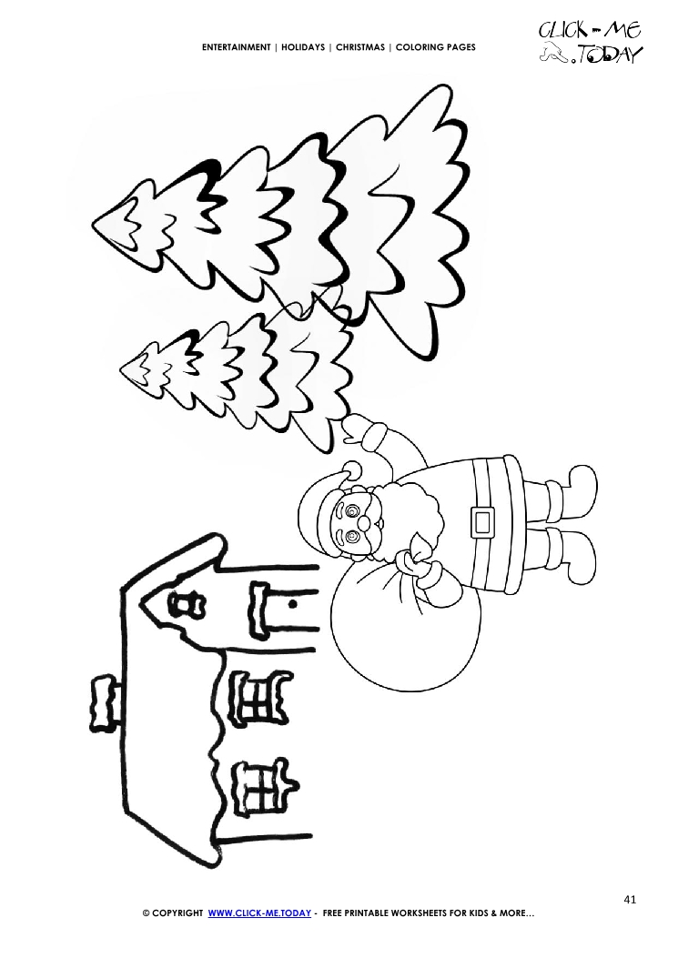 house santa claus firs coloring page