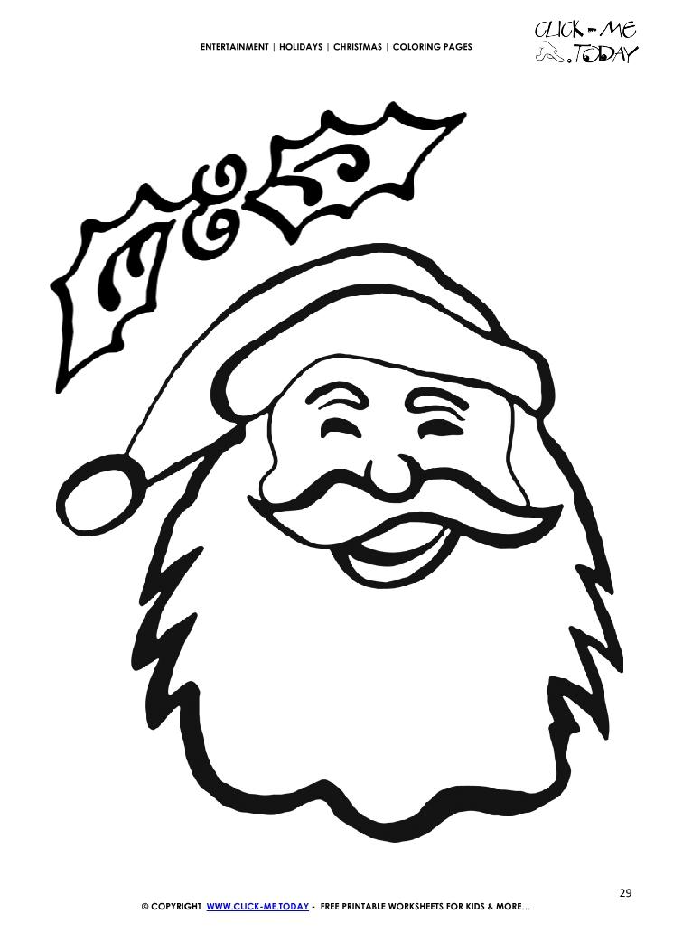 Free Santa Claus face Coloring page - Santa Claus 29