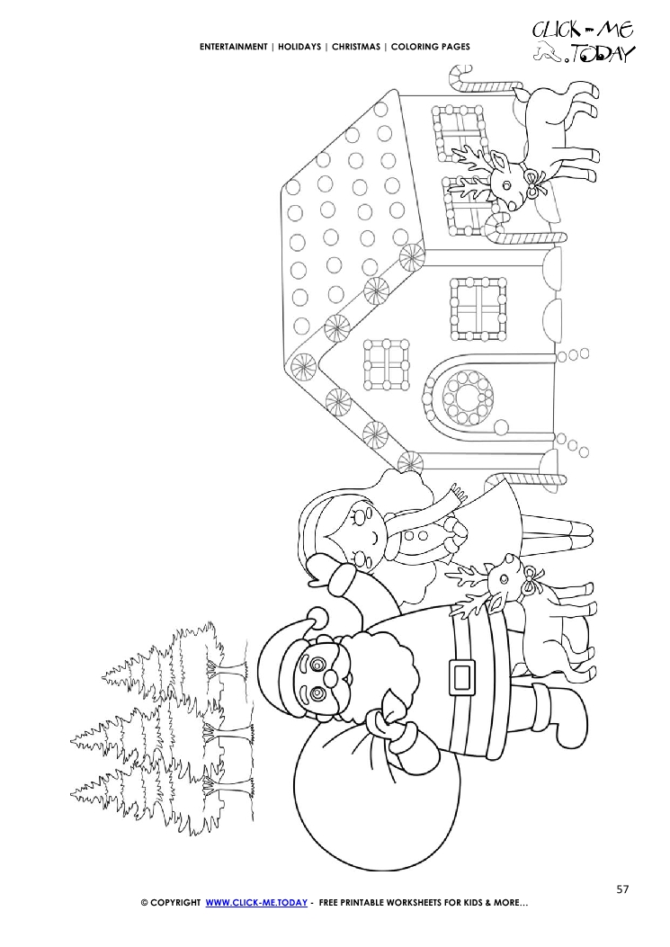 santa claus girl at house coloring page