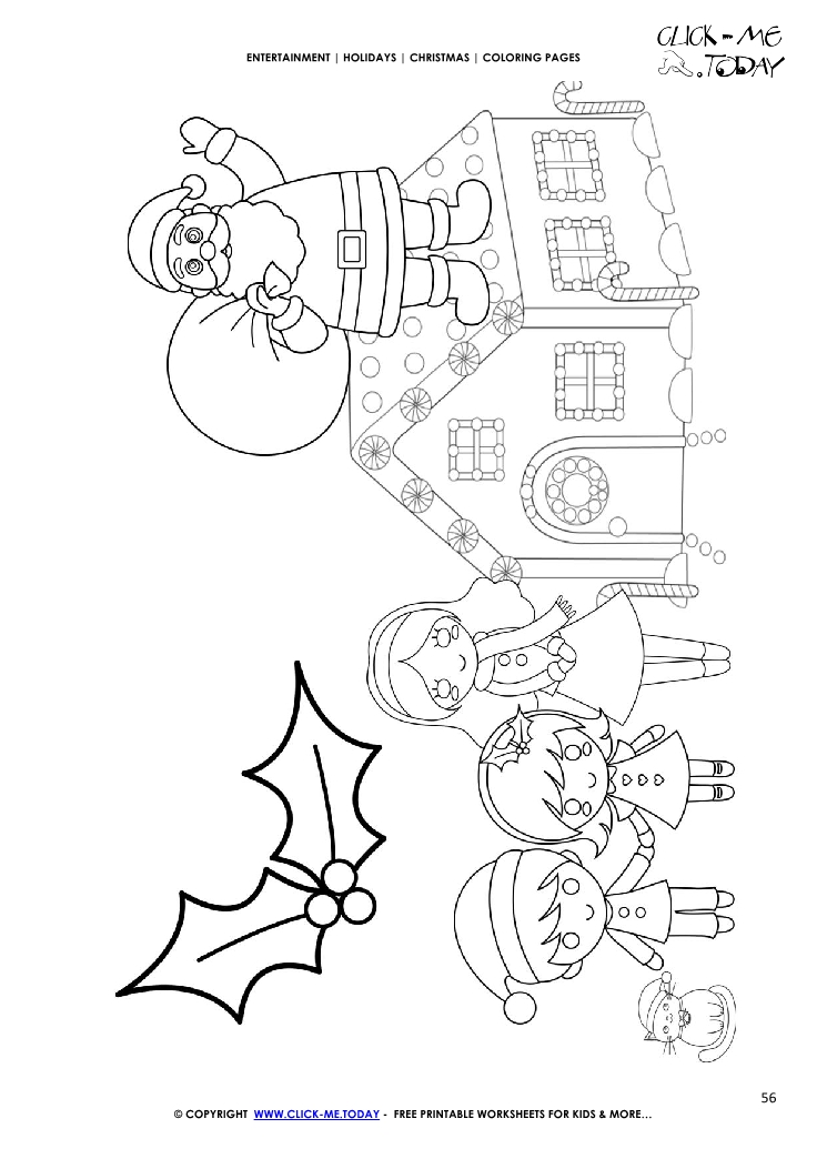 santa claus on roof of house coloring page