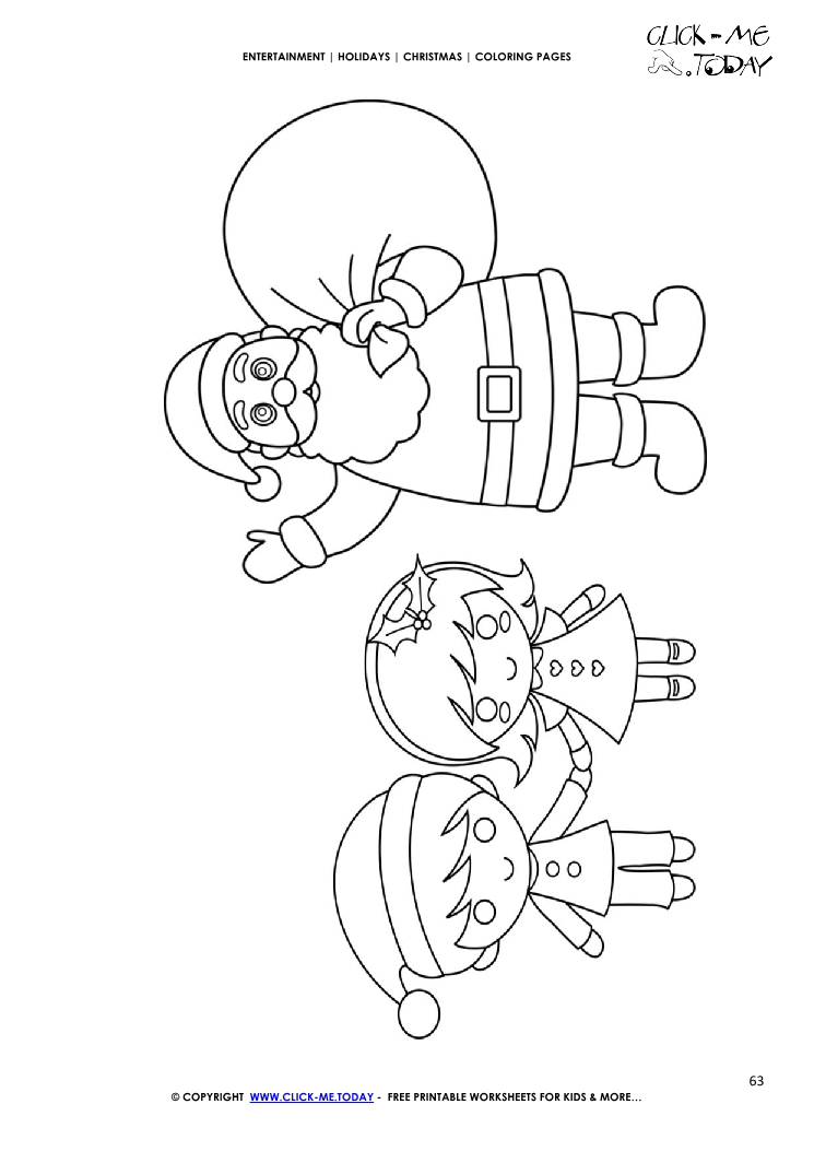 santa with sack kids coloring page