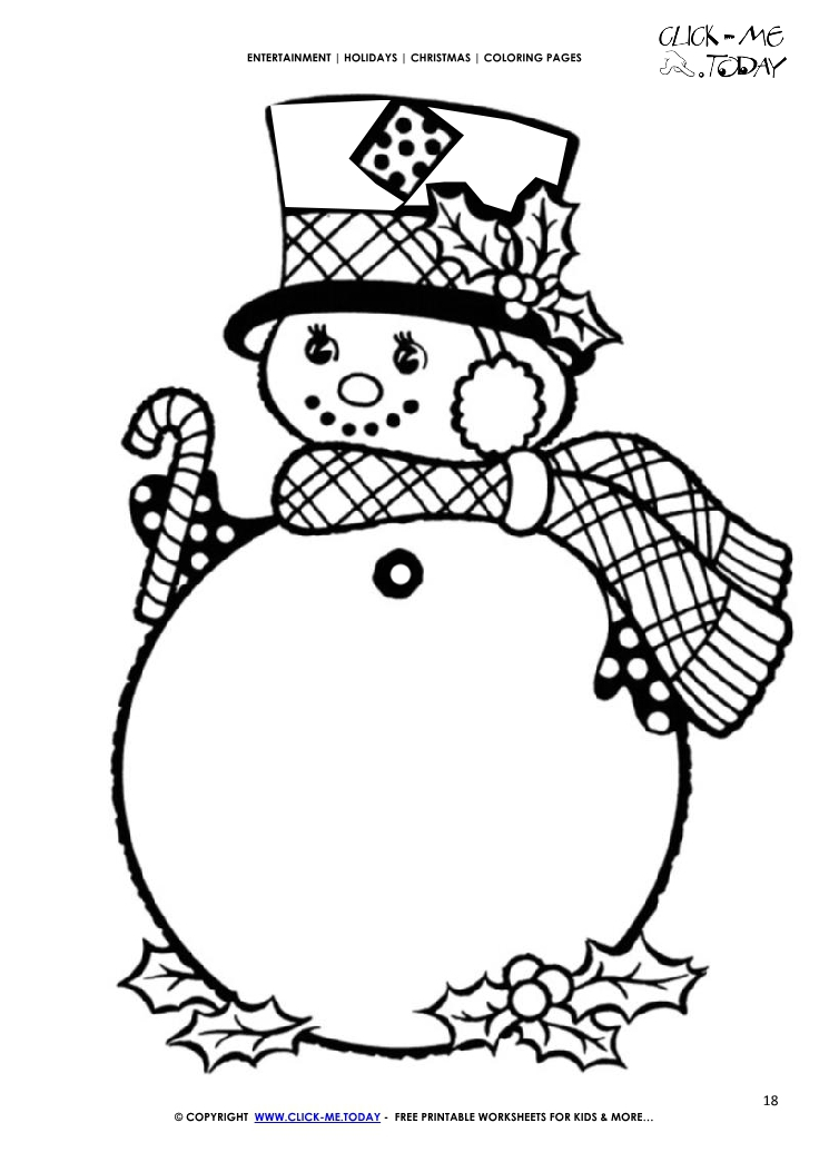 Free Snowman & Holly Coloring page - Christmas Snowman 18