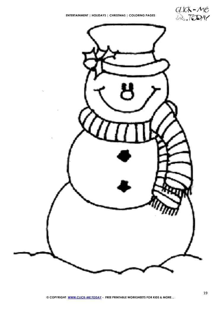 Free snowman scarf coloring page christmas snowman 19 for Free coloring pages snowman