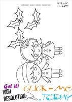 Children Xmas Hollies Coloring page