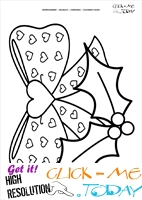 Christmas Holly & Bow Coloring page