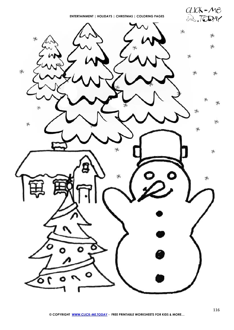 Xmas Landscape With Snowman Coloring Page