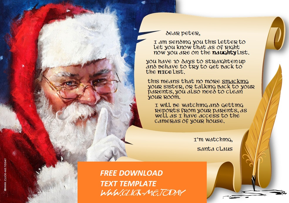 LETTER FROM SANTA CLAUS - NAUGHTY LIST WARNING