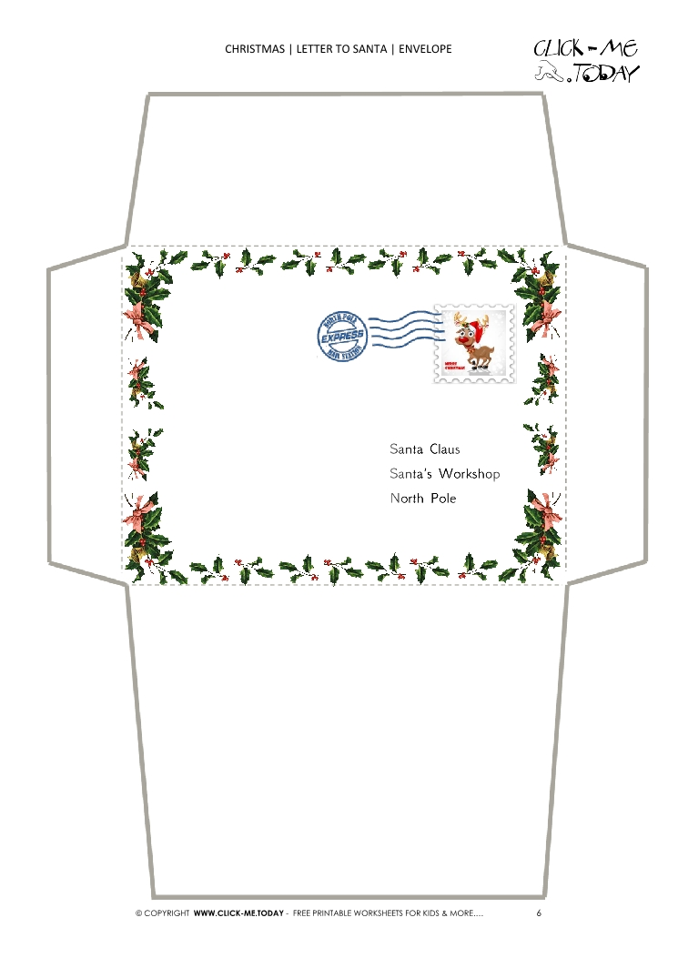 Free printable Christmas envelope stationery border template stamp 6