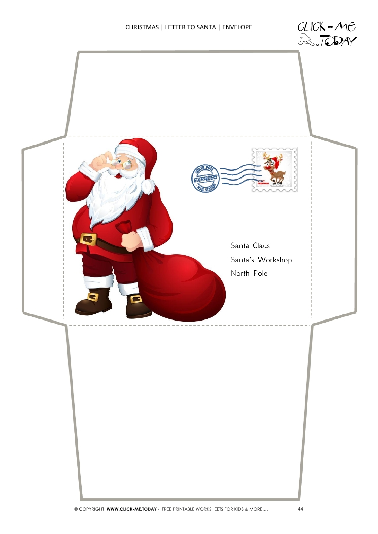 photograph relating to Printable Santa Envelopes named Lovely Santa envelope towards Santa Claus go over template 44