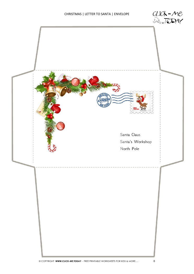Envelope Christmas stationery with post address and stamp 8