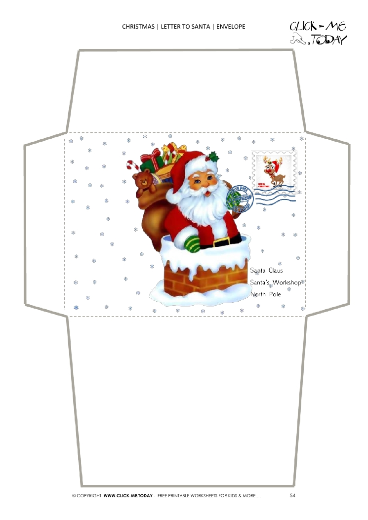 Envelope To Santa Paper Santa Claus In Chimney With Stamp 54