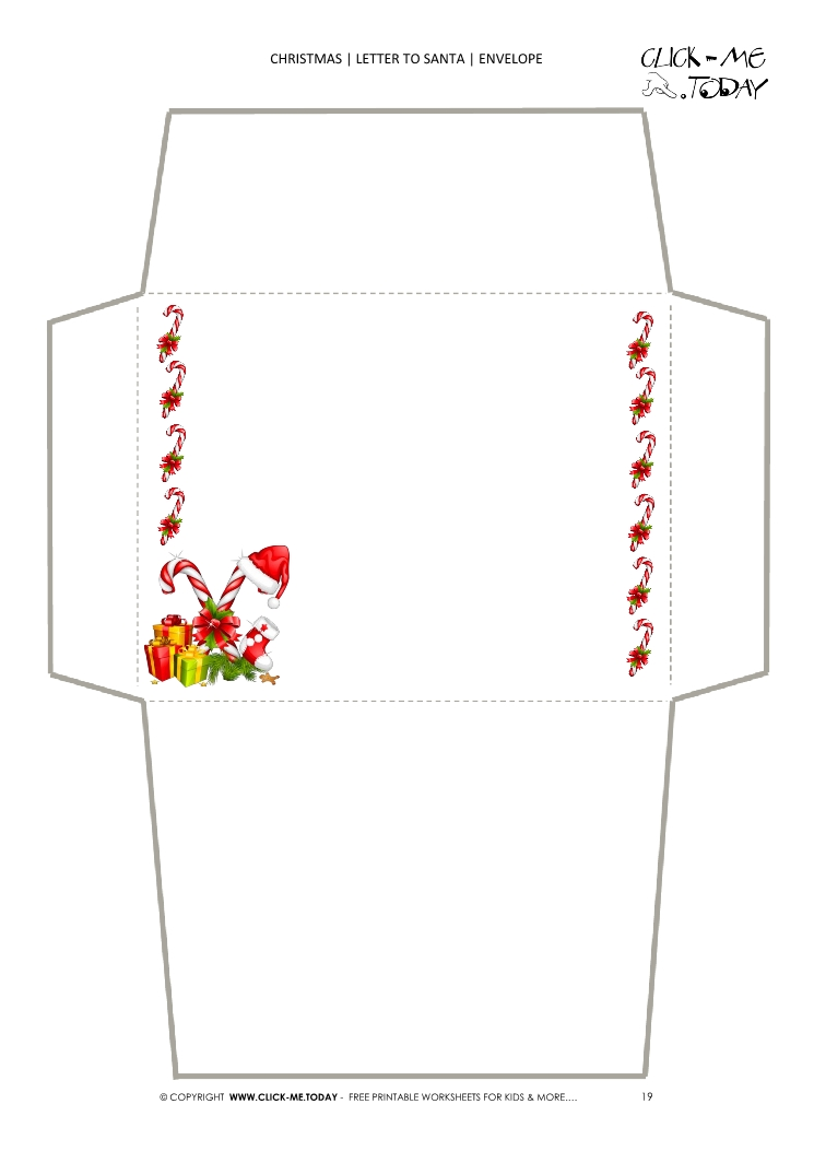 photograph about Printable Santa Envelopes titled Printable envelope in the direction of Santa template sweet canes border 19