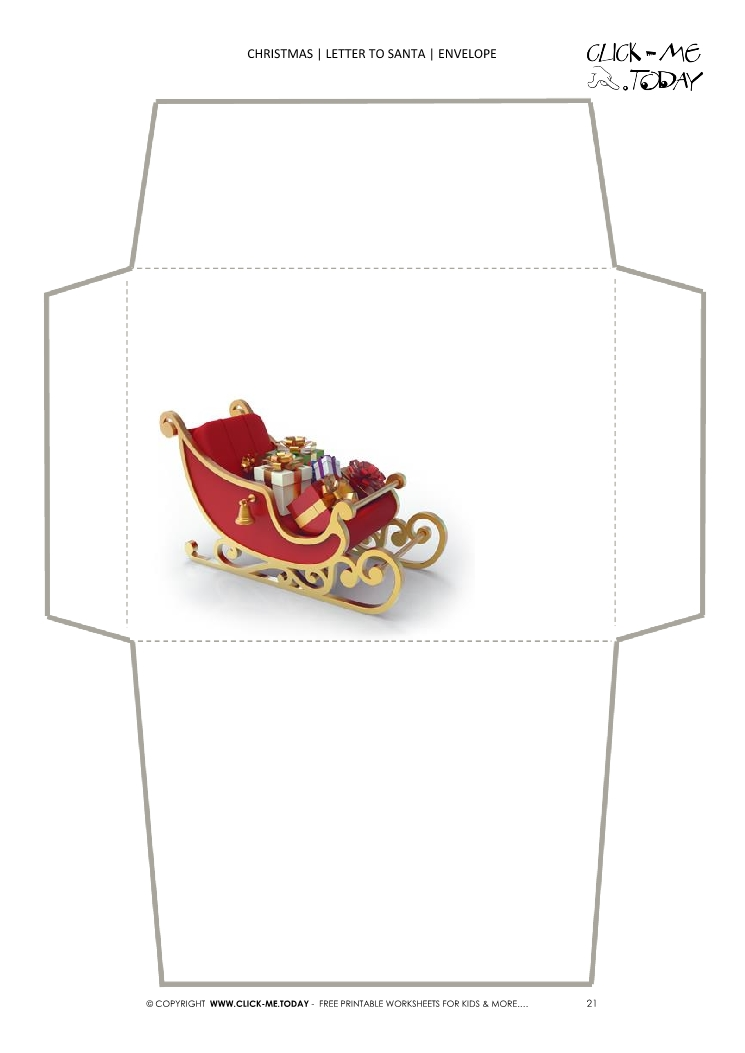 Free envelope to Santa template sleigh 21