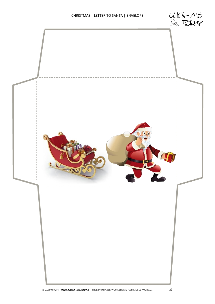 Funny envelope to Santa template sleigh and Santa running 23