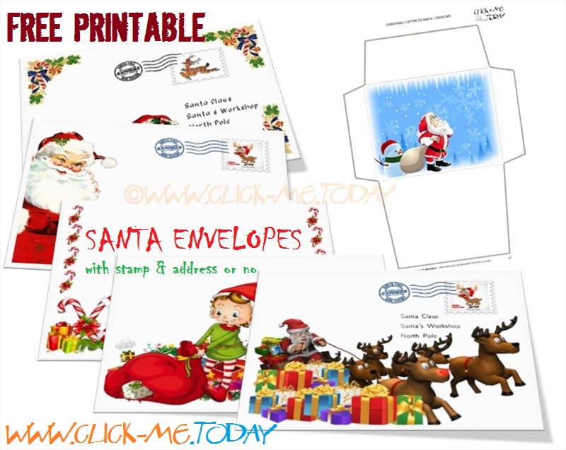 picture relating to Printable Santa Claus named Totally free printable Santa envelopes
