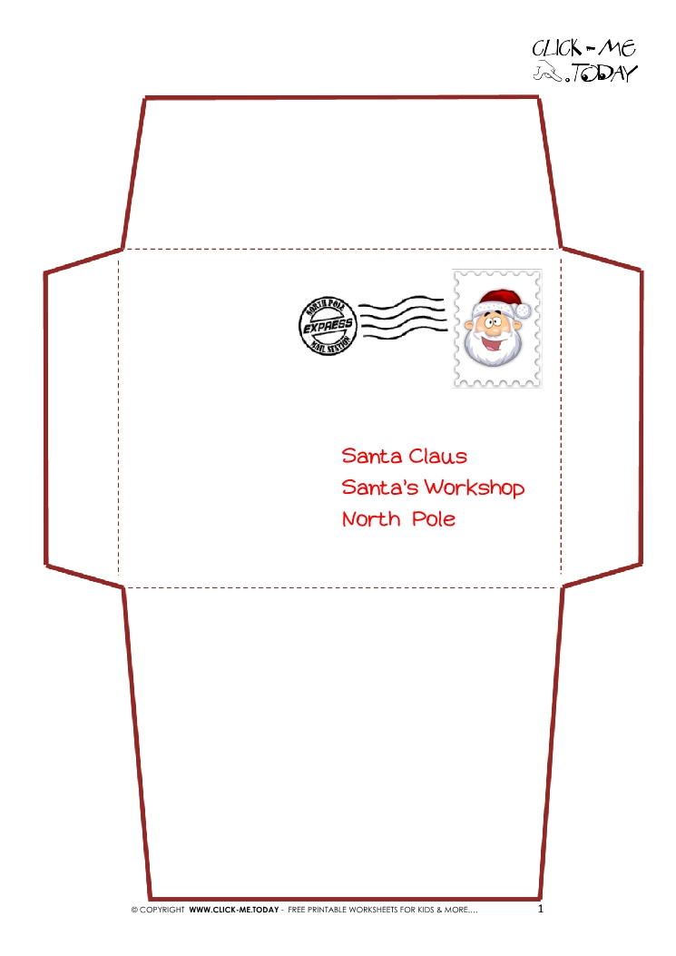 ... Letter to Santa Claus envelope template -Simple Santa stamp-1