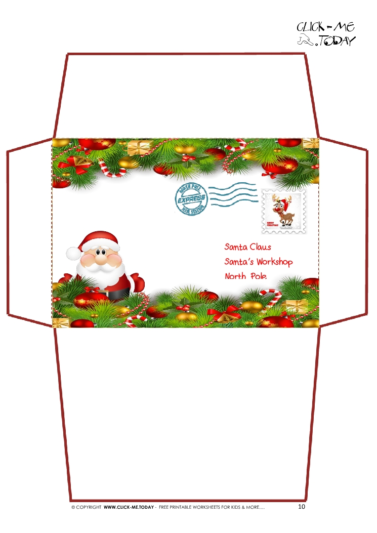 Printable Letter to Santa Claus envelope template -Xmas ...