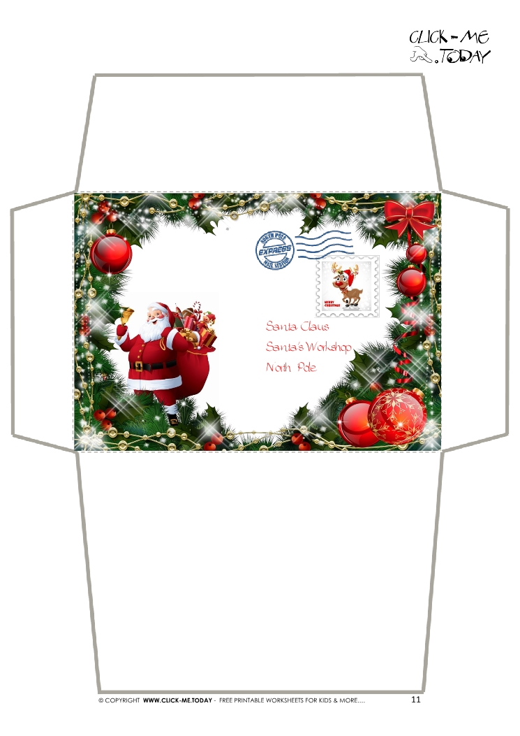 Envelope for letter to santa claus craft -black & white santa stamp-19.