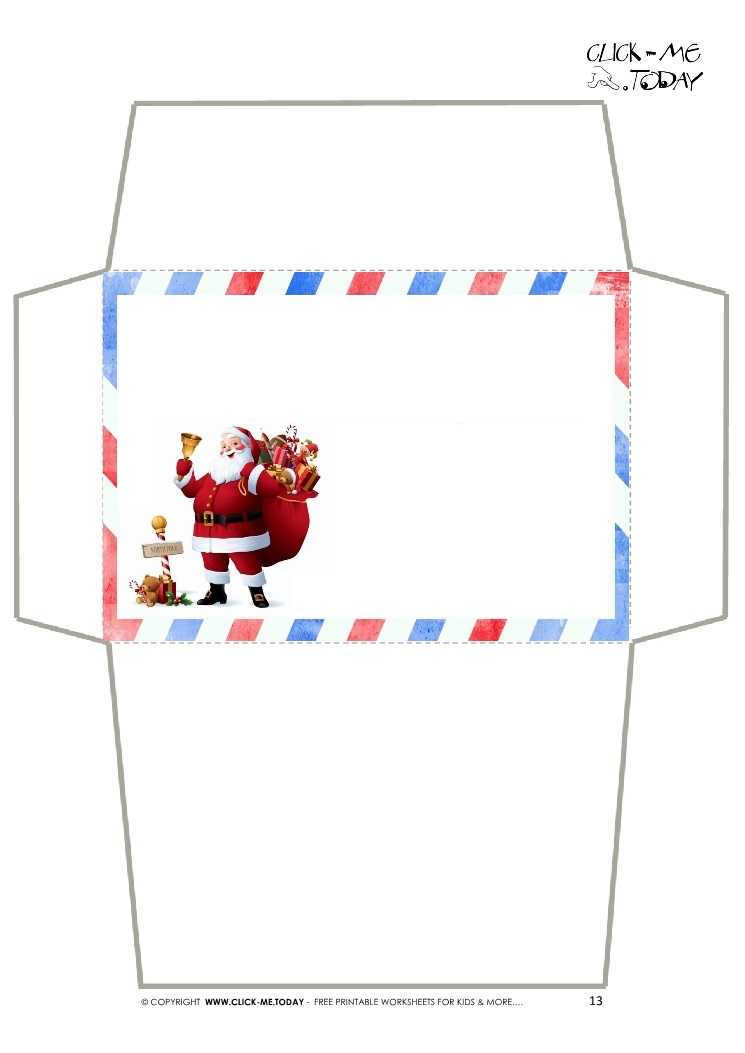 Envelope - Letter To Santa Claus -Simple Border Santa-13