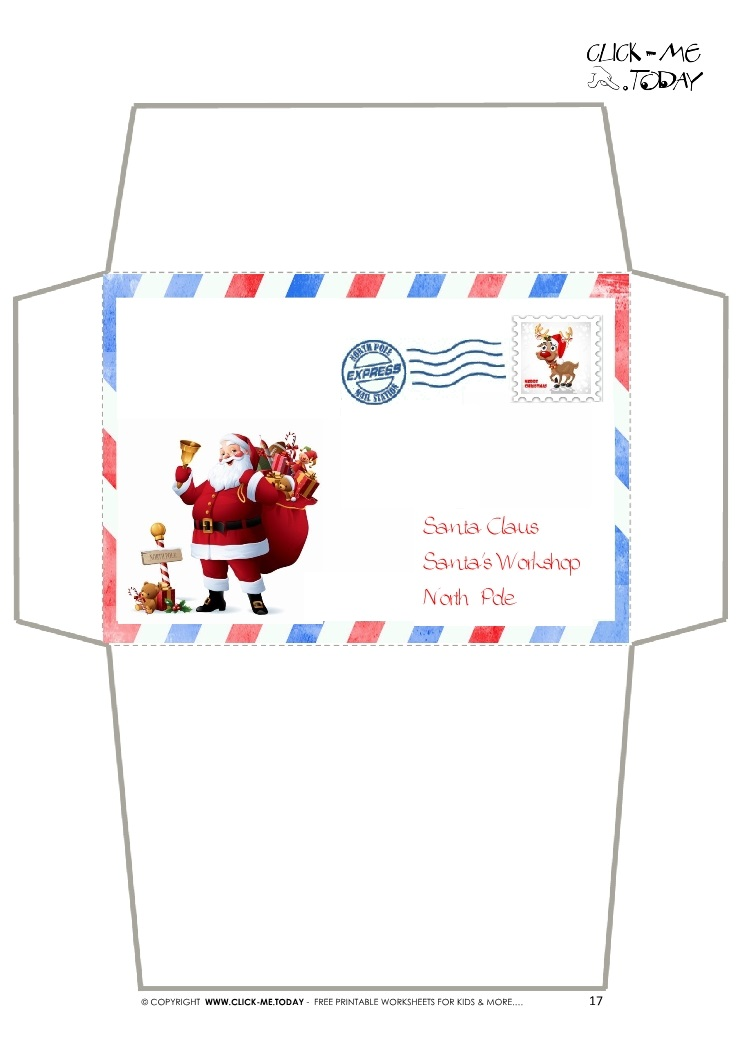 Envelope for Letter to Santa Claus craft -Border Santa Stamp-17