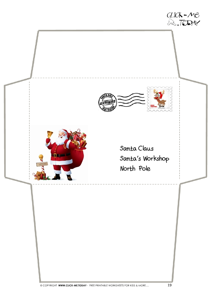 Envelope for Letter to Santa Claus craft -Black & White Santa Stamp-19