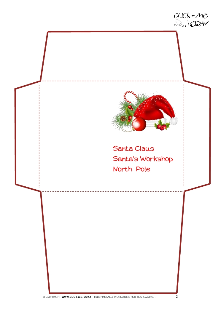 Printable Letter to Santa Claus envelope template -Santa hat-2
