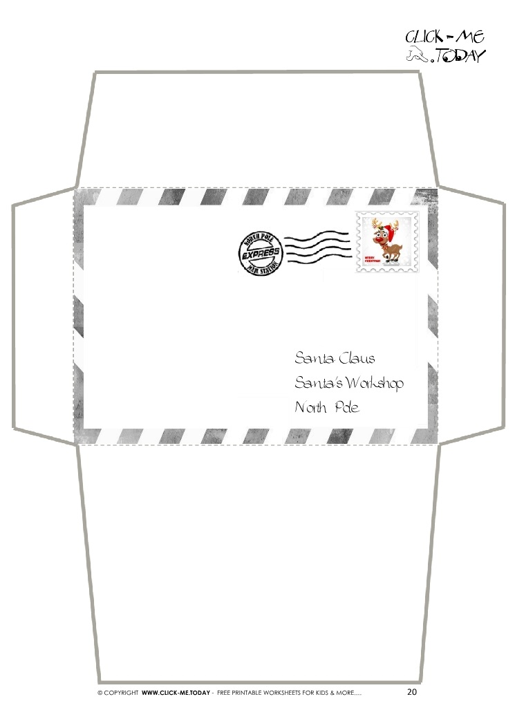 For Letter To Santa Claus Craft -Black & White Border Stamp-20