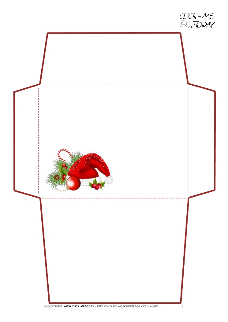Printable Letter to Santa Claus envelope template -Simple Santa hat-3
