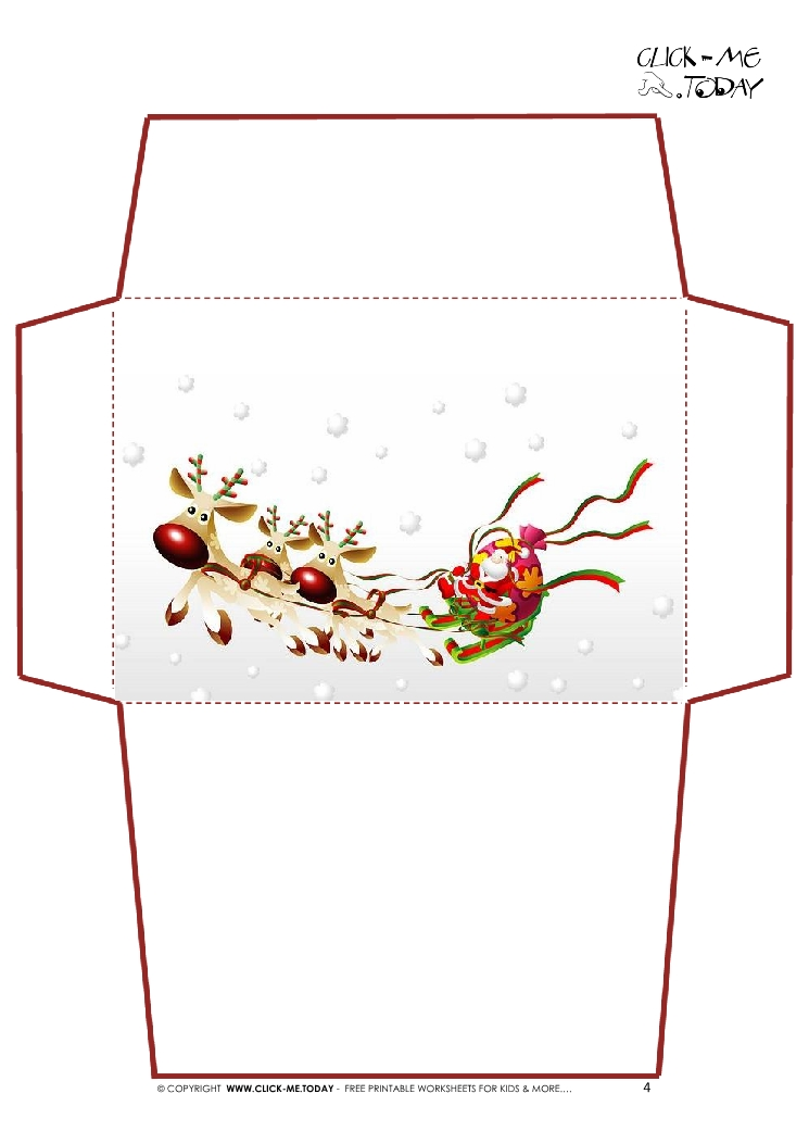 printable letter to santa claus envelope template santa sleigh 4