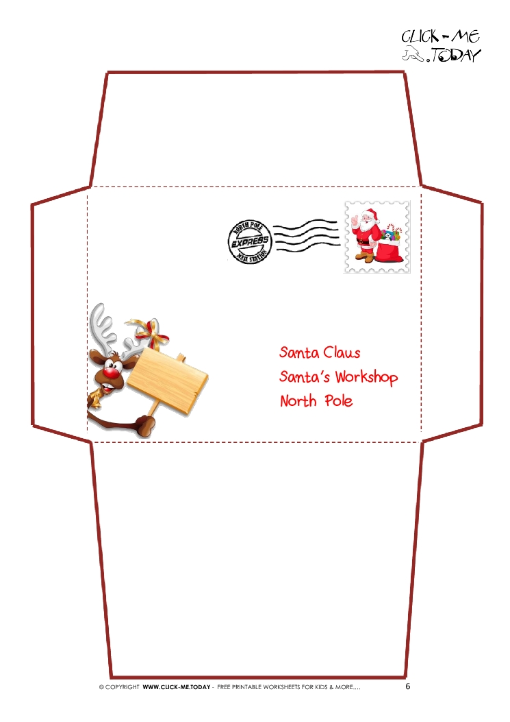 Printable Letter to Santa Claus envelope template -Reindeer Stamp-6