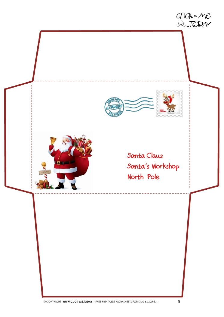 Letter To Santa Claus Envelope Template Santa Stamp