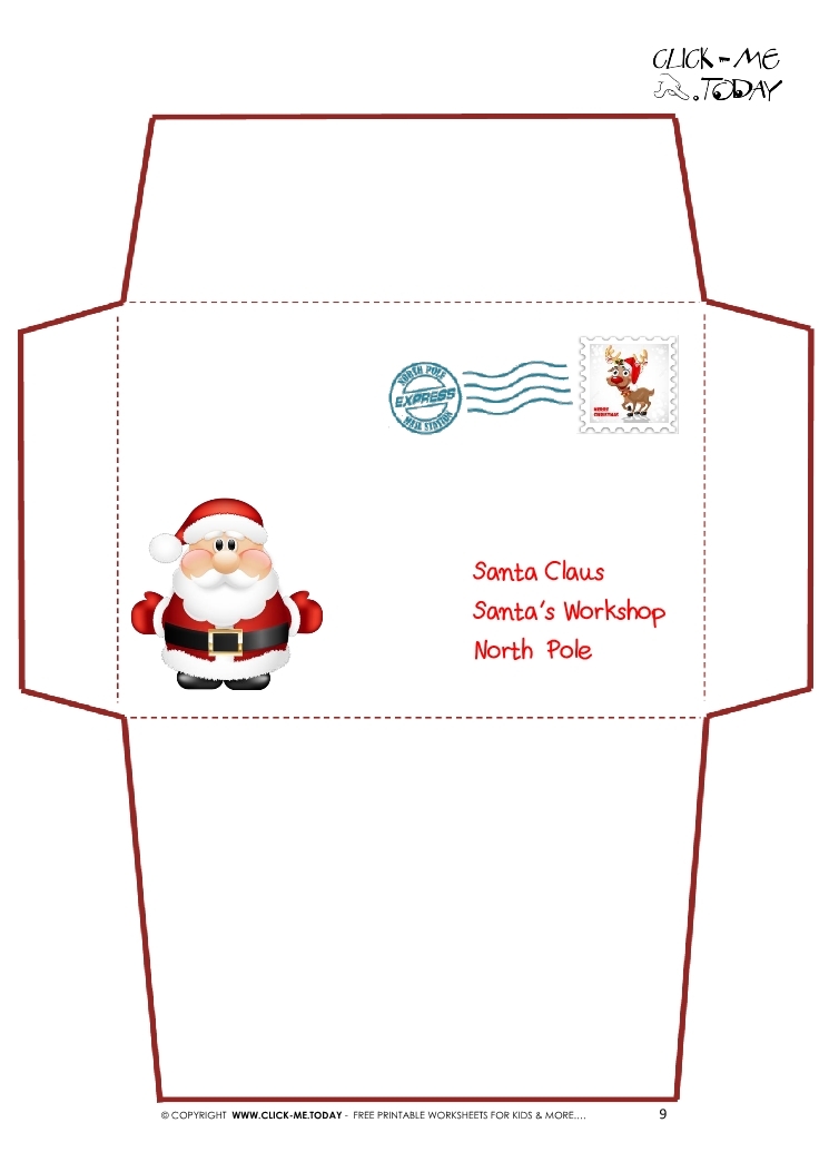 letter-santa-envelope-9 Santa Claus Letter Templates Free on for preschool, printable editable, printable blank, printable christmas,