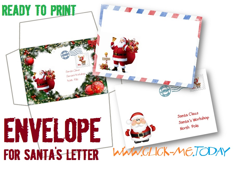 free printable letter to santa claus envelope template craft