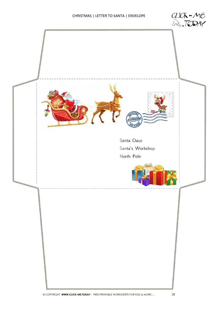 photograph relating to Printable Santa Envelopes referred to as Printable envelope towards Santa template sleigh and provides
