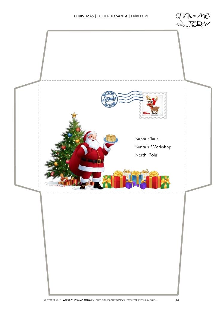 santa envelope template xmas tree with postage stamp 14
