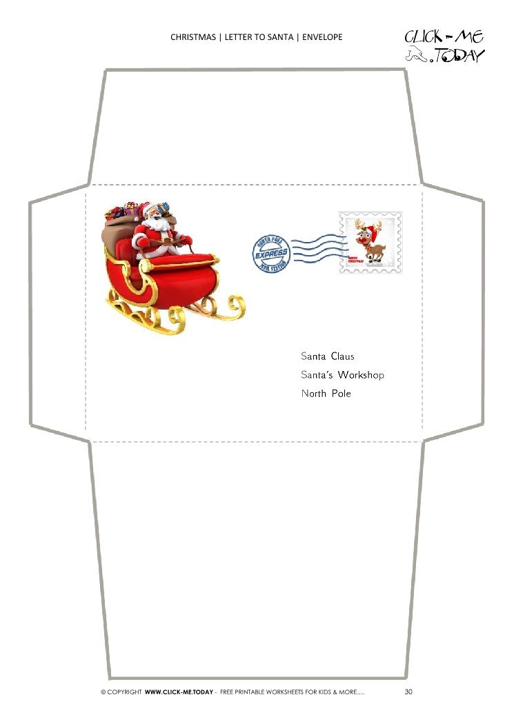 picture relating to Free Printable Santa Envelopes North Pole known as Straightforward envelope toward Santa template sleigh toward North Pole