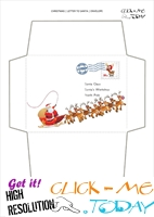 Cute envelope to Santa template sleigh and Santa Claus stamp 34