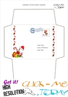 Printable envelope to Santa template candy canes border stamp 20