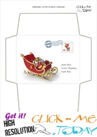 Free envelope to Santa template sleigh with postage stamp 22